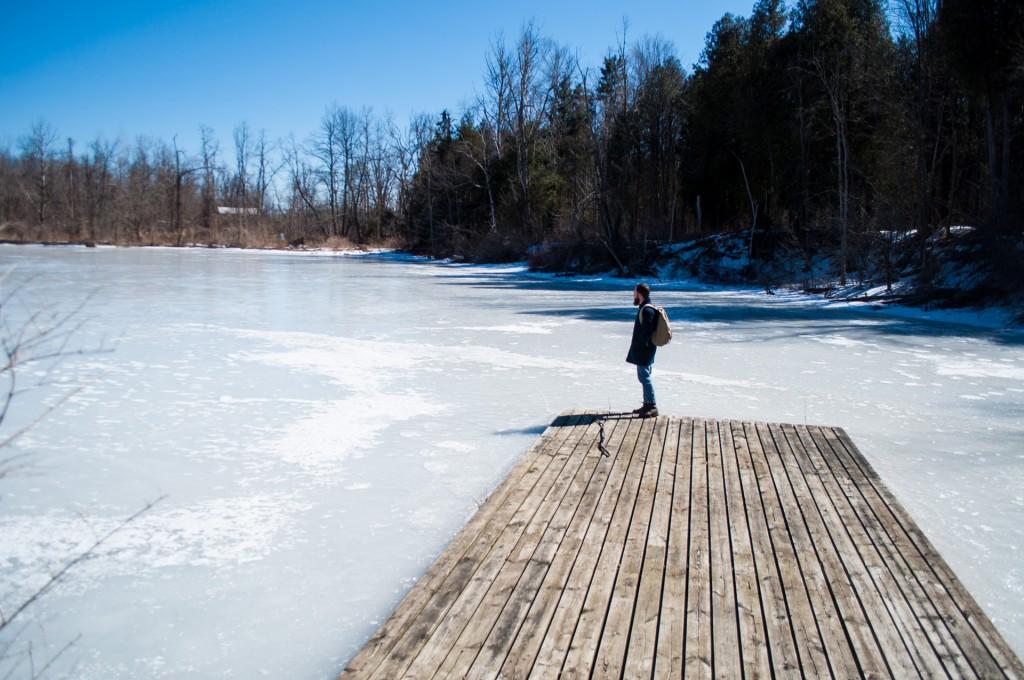 Frozen lake Ontario, Canada